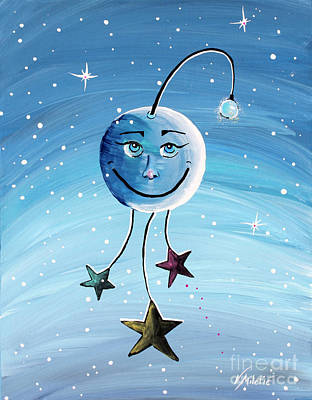 Midnight Painting - Mr. Moon - Kids Art By Valentina Miletic by Valentina Miletic