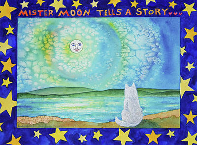 Painting - Mr Moon Tells A Story by Lynda Hoffman-Snodgrass