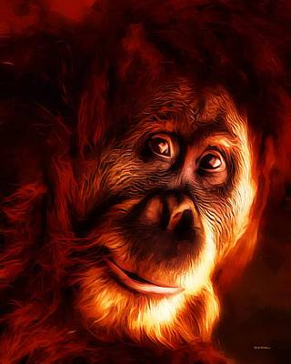 Orangutan Digital Art - Mr Orangutan Portrait  by Scott Wallace