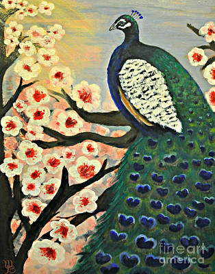 Painting -  Mr. Peacock Cherry Blossom by Mindy Bench