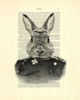 Rabbit Portrait In A Suit Art Print