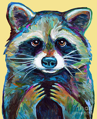 Painting - Mr Raccoon With Yellow Background by Robert Phelps