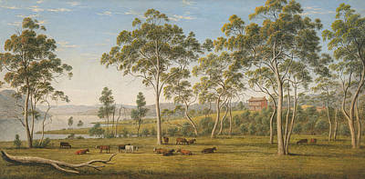 Painting - Mr Robinson's House On The Derwent, Van Diemen's Land by John Glover