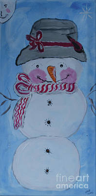 Painting - Mr. Snowman by Donna Brown