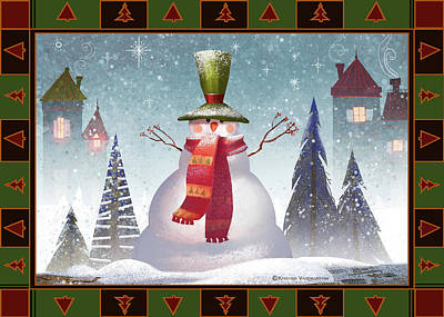 Greeting Digital Art - Mr. Snowman by Kristina Vardazaryan