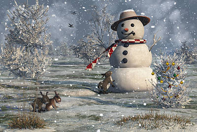 Digital Art - Mr Snowman by Mary Almond