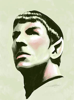 Digital Art - Mr Spock Looking Up by Kevin L Brooks