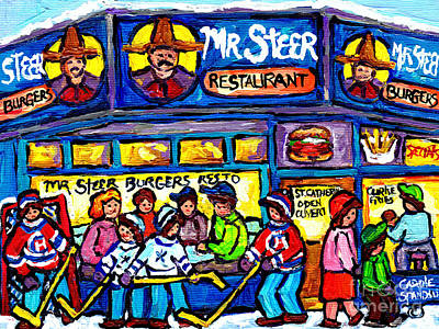 Mr. Hockey Painting - Mr Steer Burgers Montreal Restaurant Paintings Winter Street Scenes Hockey Art Canadian Artist       by Carole Spandau