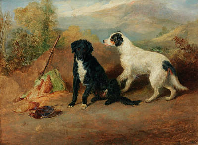 Sniffing Painting - Mr Stott's Favourite Dogs by Sir Edwin Henry Landseer