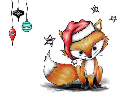Painting - Mr Sweets The Fox As Santa by Lizzy Love