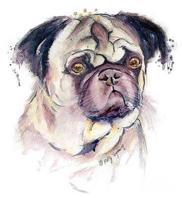 Painting - Mr Thinker Pug Watercolor by Melly Terpening