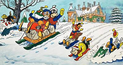 Mr Toad Tobogganing Art Print by English School