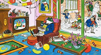 Mr Men Painting - Mr Toad Watching Television by English School