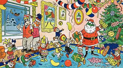 Mr Toads Christmas Party Art Print by English School