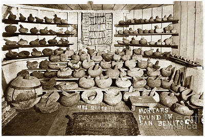 Photograph - Mrs. Butts Mortar And Pestle Collection Found In San Benito Co. by California Views Archives Mr Pat Hathaway Archives