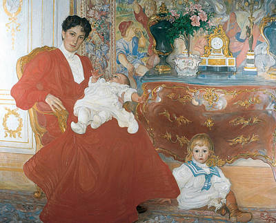 Painting - Mrs Dora Lamm And Her Two Eldest Sons by Carl Larsson