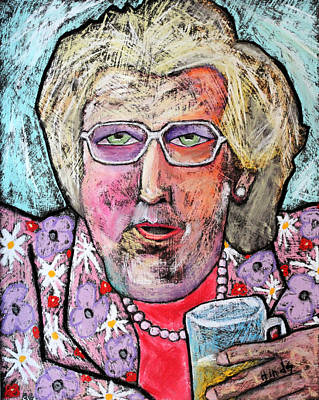 Outsider Art Pastel - Mrs Doubtfire by David Hinds