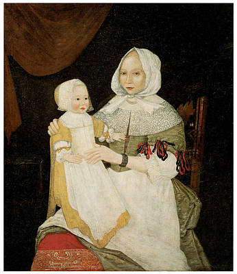 Woman And Baby Painting - Mrs. Elizabeth Freake And Baby Mary by Freake Limner