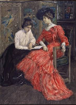 Mora Painting - Mrs F Luis Mora And Her Sister by F Luis Mora