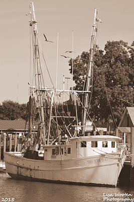 Photograph - Mrs. Judy Too Shrimp Boat Sepia by Lisa Wooten