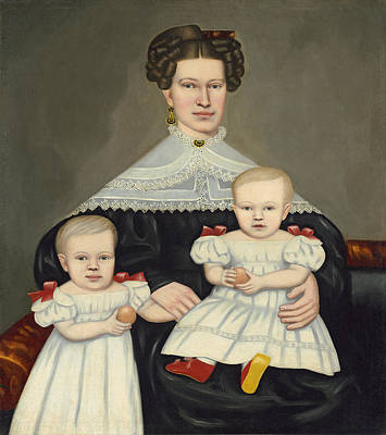 Painting - Mrs Paul Smith Palmer And Her Twins by Erastus Salisbury Field