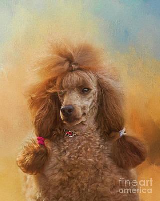Watercolor Pet Portraits Digital Art - Mrs Poodle by Art of Pics Studio