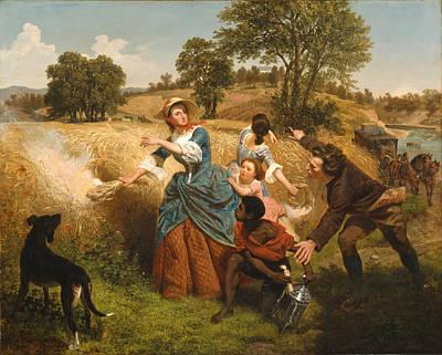 Approach Digital Art - Mrs Schuyler Burning Her Wheat Fields by Emanuel Leutze
