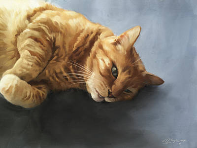 Ginger Digital Art - Mr.snuggles by Simon Sturge