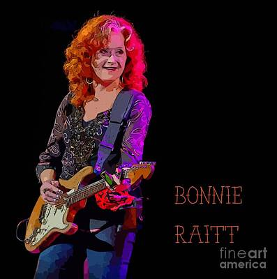 Ms. Bonnie Raitt Rocks Art Print by John Malone