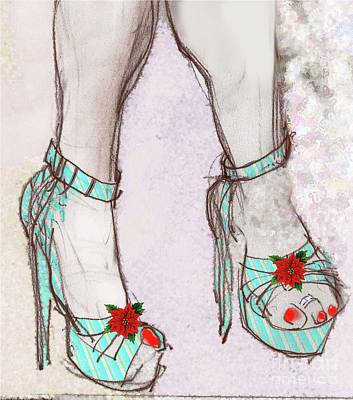 Fetish Art Mixed Media - Ms Cindy's Shoes With Poinsettas by Carolyn Weltman