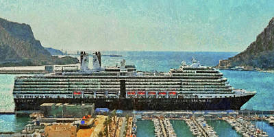 Digital Art - ms Eurodam docked in Cartagena Spain by Digital Photographic Arts