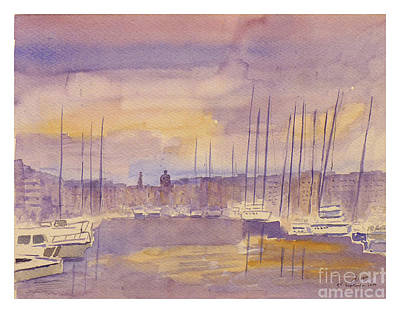 Painting - Msida Yact Marina by Godwin Cassar