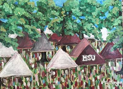 Painting - Msu Junction Tailgating Tents by Tay Morgan