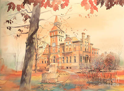 Michigan State Painting - Msu Linton Hall  by Robert Brent