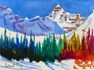 Ski Painting - Mt. Athabasca, Jasper by Mohamed Hirji