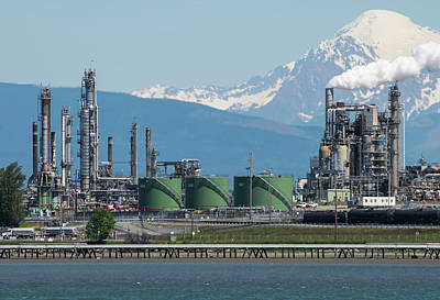Photograph - Mt Baker And Refinery From Anacortes by Tom Cochran