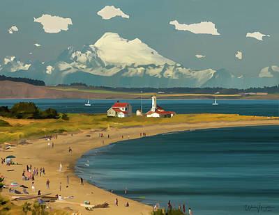 Mount Wilson Painting - Mt. Baker  Point Wilson  Port Townsend  Wa by Wally Hampton