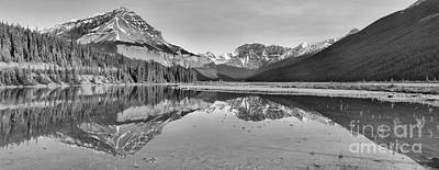 Photograph - Mt Chephren Golden Reflections Black And White by Adam Jewell