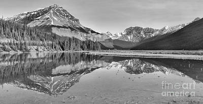 Photograph - Mt Chephren Golden Reflections Crop Black And White by Adam Jewell