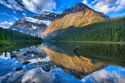 Photograph - Mt. Edith Cavell Morning Sun Stripe by Adam Jewell