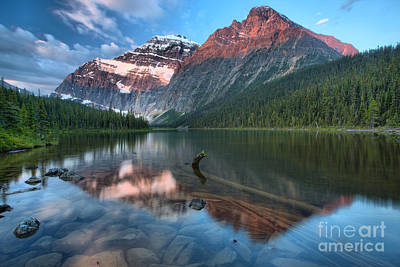 Photograph - Mt. Edith Cavell Sunrise Reflections by Adam Jewell