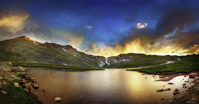 Photograph - Mt. Evens Summit Lake Sunset by Chris Bordeleau