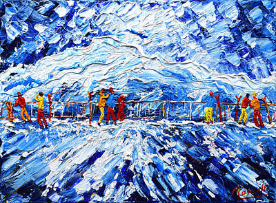 Snow Fort Painting - Mt Fort Cable Top Car Station by Pete Caswell