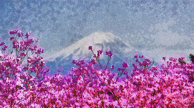 Photograph - Mt Fuji And Pink Blooming Trees. Spring Fantasy by Jenny Rainbow