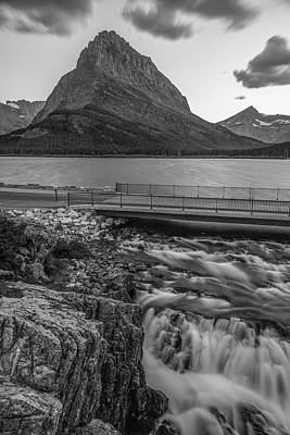 Photograph - Mt Grinnell And Waterfall Black And White  by John McGraw