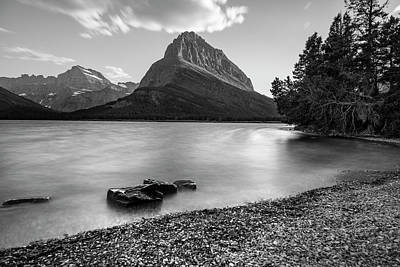 Photograph - Mt Grinnell Glacier National Park Black And White  by John McGraw