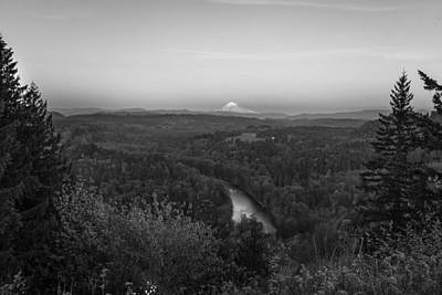Photograph - Mt Hood And Landscape Black And White  by John McGraw