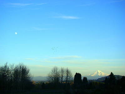 Photograph - Mt Hood And The Moon by Lisa Rose Musselwhite