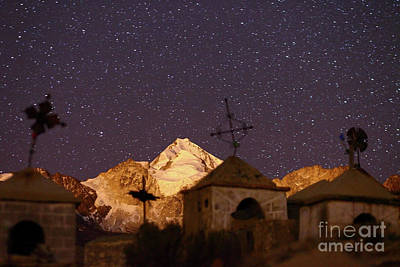Snowy Night Photograph - Mt Huayna Potosi And Milluni Cemetery At Night by James Brunker