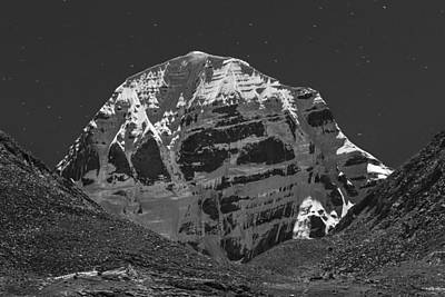 Moonlit Night Photograph - Mt. Kailash In Moonlight by Hitendra SINKAR
